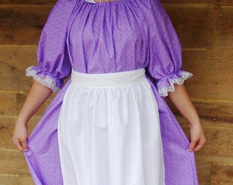 Historical Costumes 1800's Clothing Little House on the Prairie-New Lavender Pioneer- Adult Size