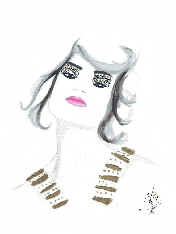 Watercolour fashion illustration Titled Ava