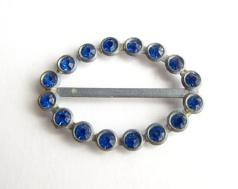 Vintage 1930s Blue Rhinestone Belt Buckle in Pewter Tone Metal