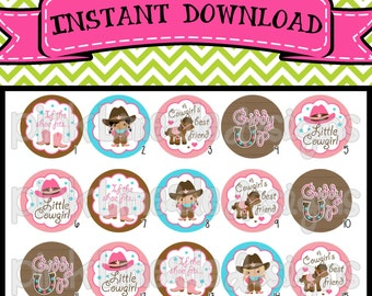"Little Cowgirl - INSTANT DOWNLOAD 1"" Bottle Cap Images 4x6 - 281"