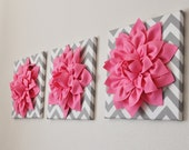 "Pink Wall Art -Set Of Three Pink Dahlias on Gray and White Chevron 12 x12"" Canvas Wall Art- Home Decor"