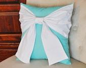 Throw Pillow White Bow on Bright Aqua Pillow 14x14 - Pool Blue Pillow-