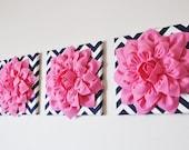 "Wall Decor -SET OF THREE Pink Dahlias on Navy and White Chevron 12 x12"" Canvas Wall Art-"