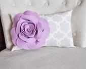 Lumbar Pillow Lilac Rose on Neutral Gray Tarika Lumbar Pillow 9 x 16 -Lattice Trellis- - bedbuggs