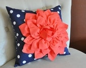 Coral Dahlia on Navy and White Polka Dot Pillow -Baby Nursery Pillow- Toss Pillow Decorative Pillow