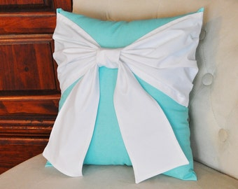 Throw Pillow White Bow on Bright Aqua Pillow 14x14 - Pool Blue Pillow-