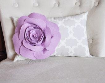 Lumbar Pillow Lilac Rose on Neutral Gray Tarika Lumbar Pillow 9 x 16 -Lattice Trellis-
