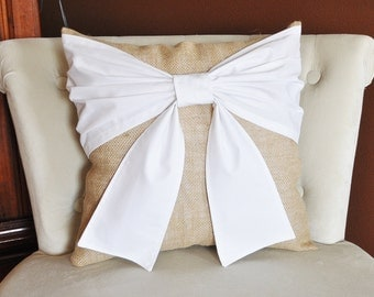 Throw Pillow White Bow on Burlap Pillow 14x14 -Rustic Home Decor