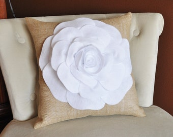 16 x 16 White Rose Flower on Burlap Pillow Accent Pillow Throw Pillow Toss Pillow