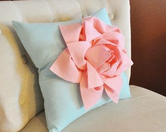 Decorative Pillow -Light Pink Lily Flower on Light Aqua Pillow- Lotus Flower Pillow- Toss Pillow Baby Nursery Pillow