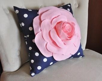 Rose Pillow Light Pink Flower on Navy and White Polka Dot Pillow 14x14 Flower Pillow