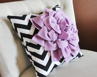 Kids Bed Pillow Decorative Decor for a Toddler Bed, Lilac Dahlia on Black Chevron Furniture Accessory custom bedding