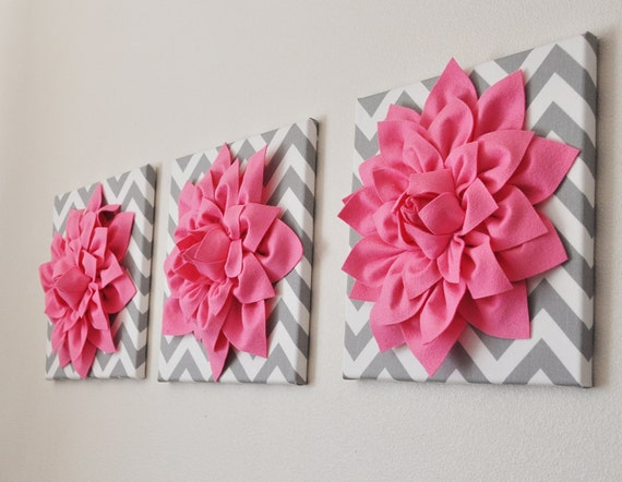 Pink wall art set of three pink dahlias on gray and by for Pink wall art