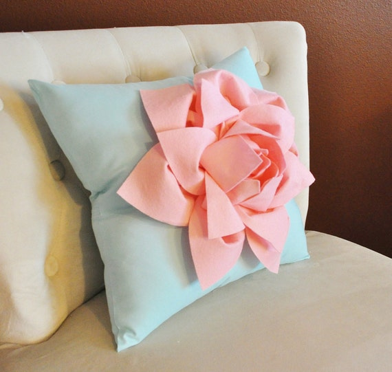 Light Pink Decorative Pillow : Items similar to Decorative Pillow -Light Pink Lily Flower on Light Aqua Pillow- Lotus Flower ...