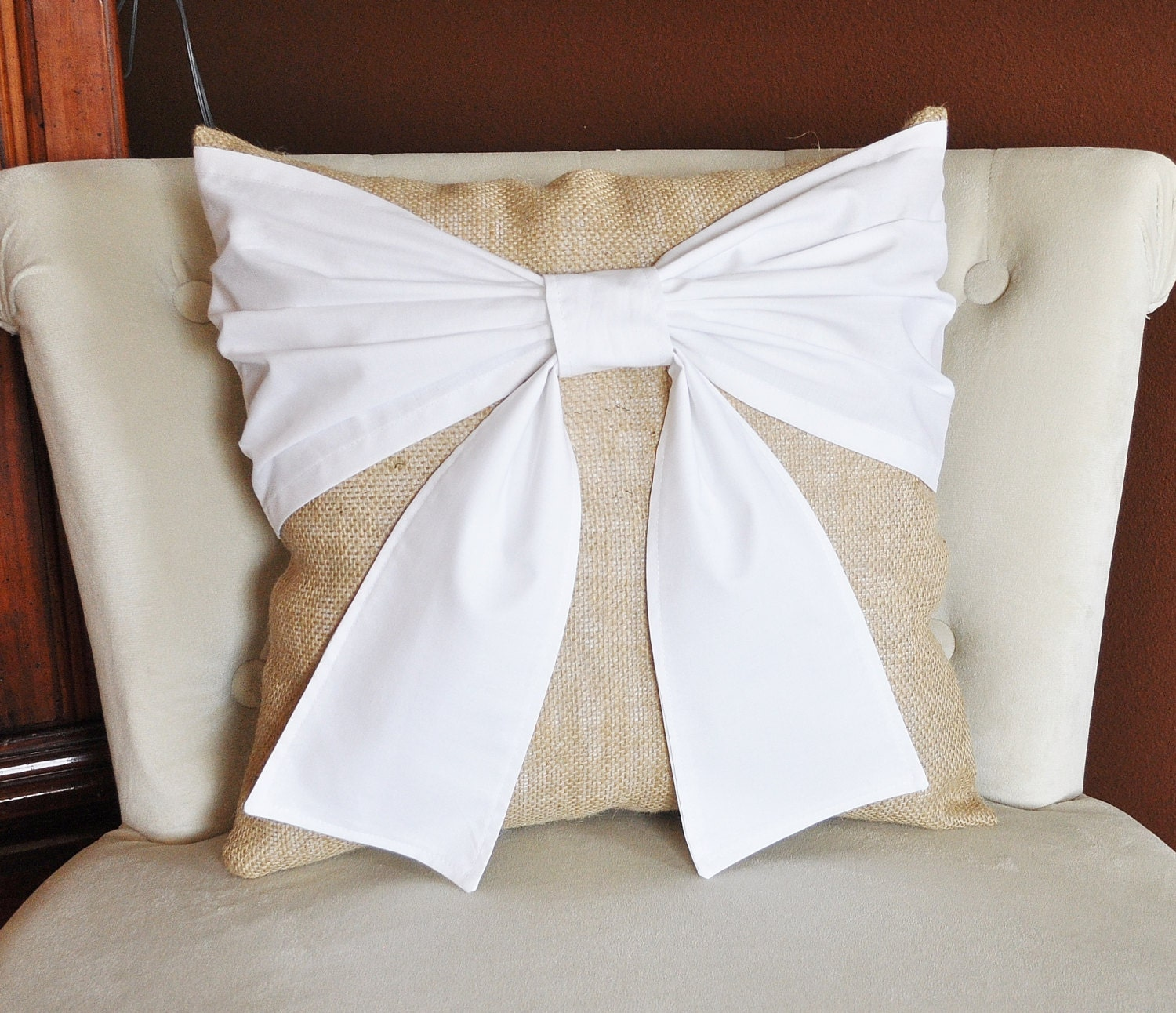 Burlap Throw Pillows Etsy : Throw Pillow White Bow on Burlap Pillow 14x14 Rustic Home