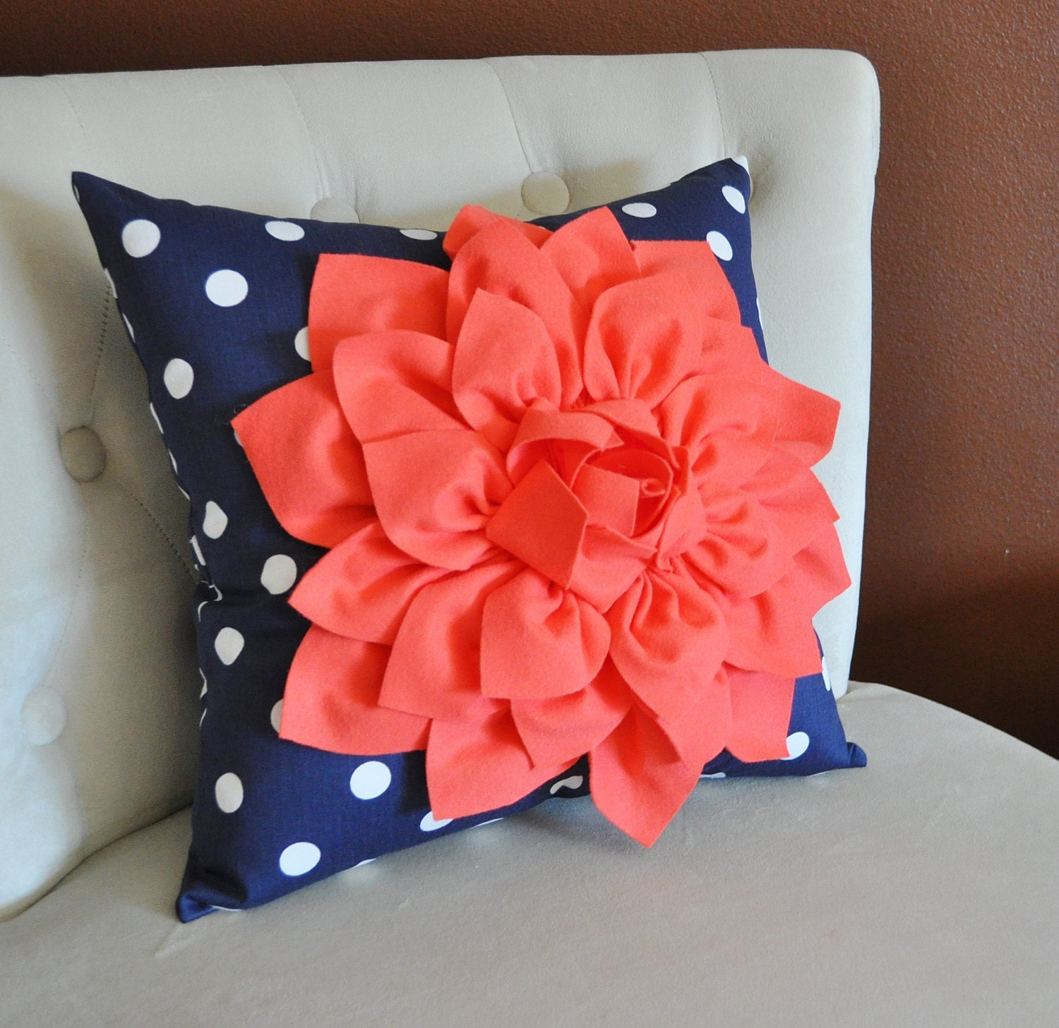 Coral Dahlia on Navy and White Polka Dot Pillow Baby by bedbuggs
