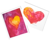 Watercolor Hearts Note Cards - Set of 6 - Love Notes