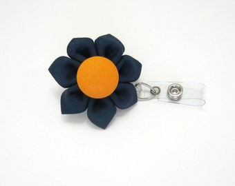 Badge Reel Retractable ID Holder Badge Holder Lanyard Navy & Orange Auburn Kanzashi
