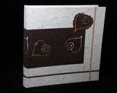 Made in Italy photo album natural batik paper brown wax hearts wedding birthday  Valentine Day original gift guest book scrapbook