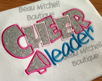 Cheer Leader with a megaphone applique embroidery design