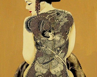 "Geisha with Samurai and Dragon Full Back Tattoo ""Bushido"" 16"" x 20"" Print from Original Painting"