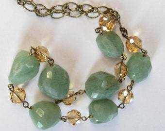 CHUNKY CrySTaL and LArGE Faceted Aventurine Necklace -GoRGeOUS