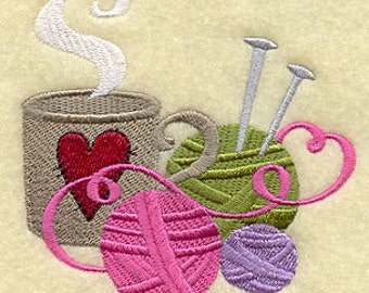 Cup of Knitting Embroidered Cotton Terry Towel Kitchen, Hand or Sports