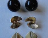 3 Pairs Of Vintage 70's Clip on Earrings
