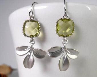 Three Leaves Drop Earrings, Dangle Earrings, Silver Plated earrings, wedding earrings, Apple Green Faceted,Apple Green and gold earrings
