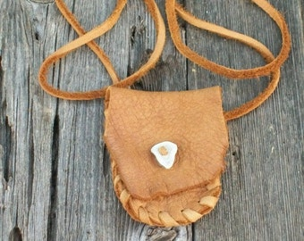 Leather  medicine bag , Leather crystal bag , Leather neck pouch , Leather necklace bag