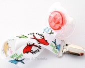 Dr. Seuss Fish- universal pacifier clip or binky holder- Fish pacifier- Binky Clip, Snap pacifier clip, Binky Holder, Dr Seuss, Dr. Suess
