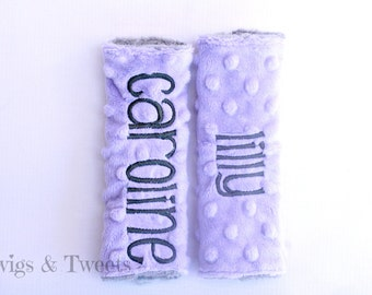 Personalized Car Seat Strap Covers- YOU CHOOSE COLORS- Lavender and Silver Minky monogram car seat straps