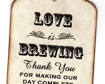 50 Personalized Love Is Brewing Wedding Favor Tags / Place Cards / Thank You Tags / Coffee or Tea Tags / Labels - Vintage Style