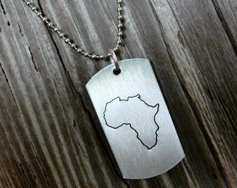 Hand stamped Africa dog tag