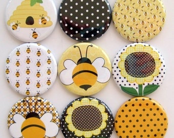Bee Magnets - Button Magnets - Set of Nine 1.25 Inch Button Magnets Packaged in a Custom Box