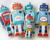 ONE Retro ROBOT toy fabric plush softie play cushion... ideal for boys