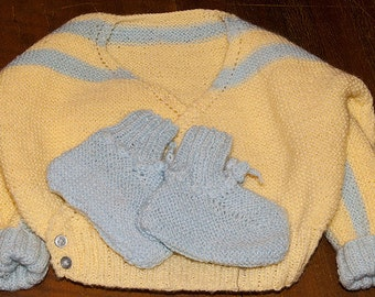 Surplice knitted baby sweater and booties