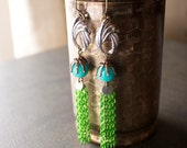 Apple Green Metallic Chain Dangle Earrings with Turquoise Jade and Vintage Silver Linkers