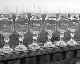 7 Redneck Wine Glasses, Wedding Party, Personalized, Engraved