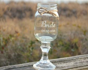 1 Redneck Wine Glass, Personalized Redneck Wine glass, Keepsake Glass, Mason Jars, Hillbilly Redneck Wine glass