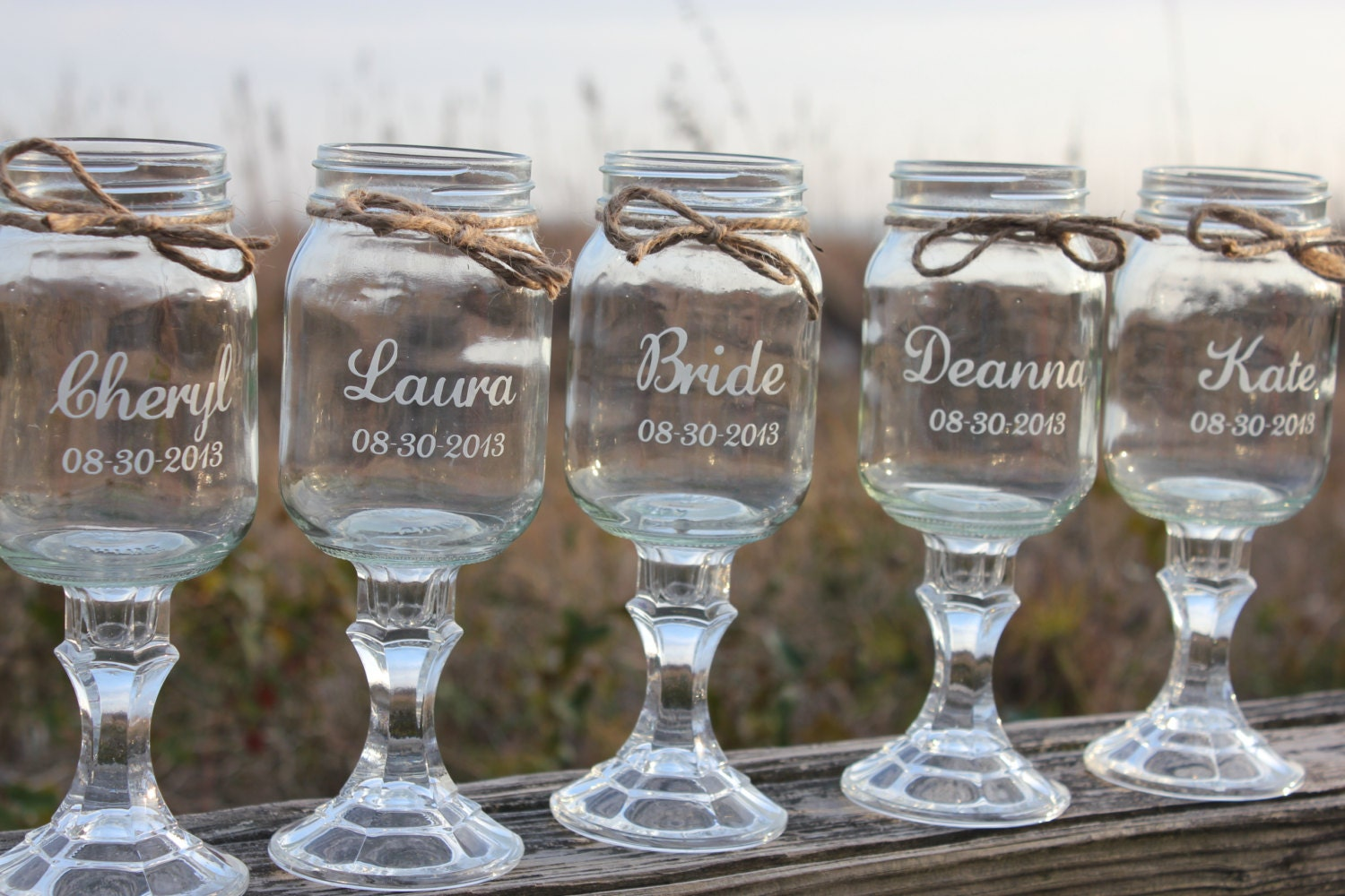 10 Redneck Wine Glasses Wedding Bridal Party Personalized