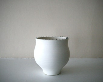 "Elegant Matte White Stoneware Vessel / Rim of Tiny Black Dots / Ostrich-Egg Matte Finish / ""ORBICULAR"""