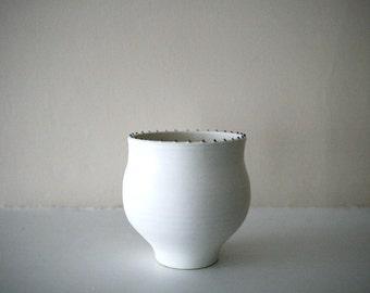 "Elegant Matte White Stoneware Vessel / Rim of Tiny Black Dots / Ostrich-Egg Matte Finish / ""ORBICULAR"""