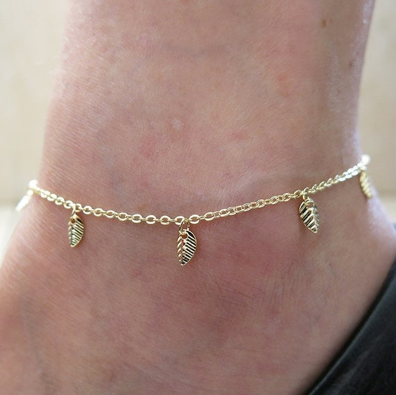 anklet gold anklet leaf anklet thin anklet chain by sohocraft