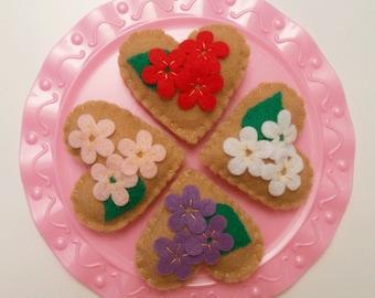 Felt Food Cookie, Valentine,  Flowers