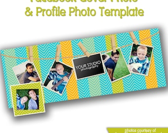 INSTANT DOWNLOAD - Facebook timeline cover photoshop template and coordinating profile thumbnail - 0767