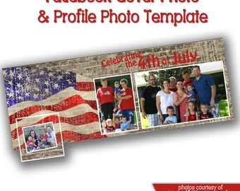 INSTANT DOWNLOAD - Facebook timeline cover photoshop template and coordinating profile thumbnail - 0610