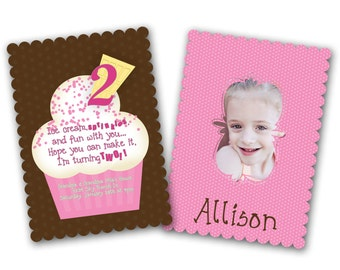 INSTANT DOWNLOAD -  Luxe Birthday Invitation Photoshop Psd Photo Card Template Photographers - Girl Ice Cream - 0565