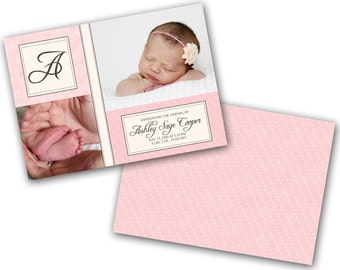 INSTANT DOWNLOAD - Birth announcement photo card template, 5x7 card - 0161