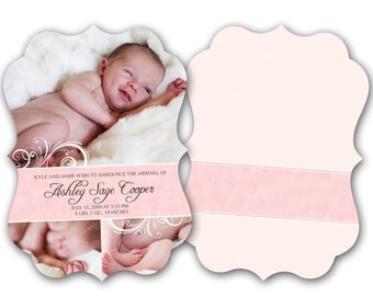 INSTANT DOWNLOAD -   Birth announcement photo card template, Luxe card - 0589
